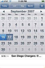Calendar screenshot on iPhone