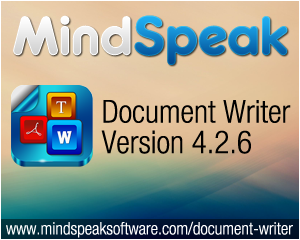 Mindspeak Announces Document Writer 4.2.6