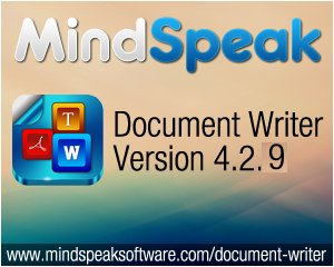 Mindspeak Software Announces Document Writer Update 4.2.9