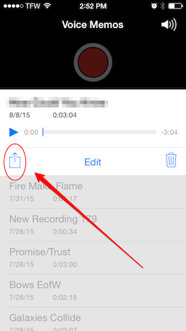 how to send voice memos from iphone to email