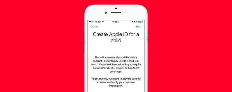 how to create apple id for child