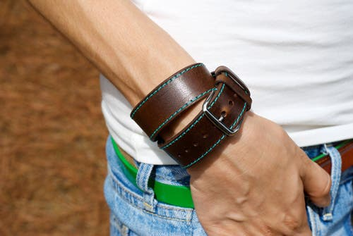 hermes leather band cuff
