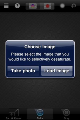 ColorSplash beginning options screen