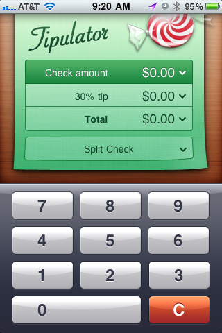 Tipulator Check amount screen