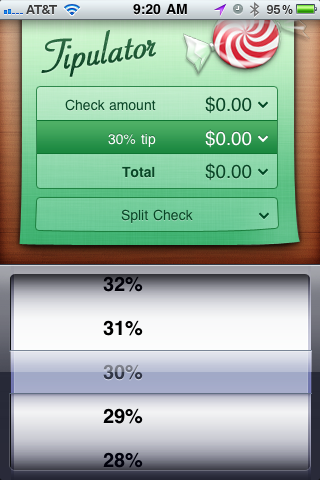 Tipulator Tip amount screen