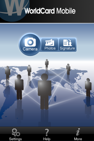WorldCard Business opening screen