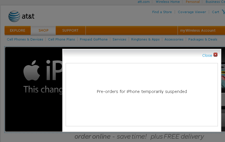 AT&T suspends sales of iPhone 4 after just one day!