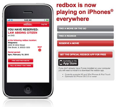 redbox iPhone app
