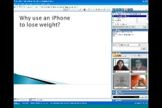 A PowerPoint presentation viewed through WebEx on the iPhone