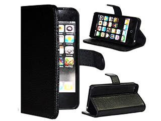Beautifully Crafted, Compact, Ultra Durable Genuine Fine Leather Case Stand for iPhone 5.