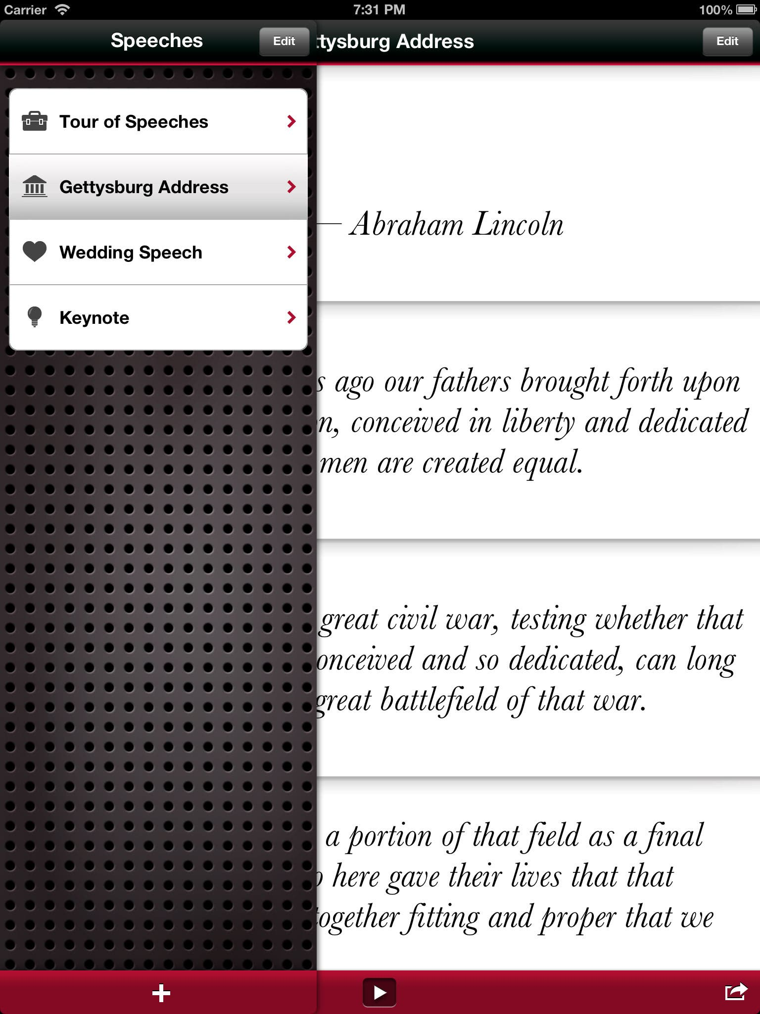 Speeches Puts Speaker's Notes on Your iPad or iPhone