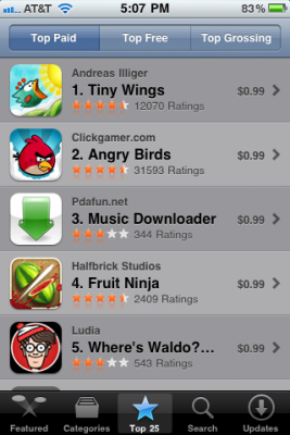 Tiny Wing's Top Paid App Store Screenshot