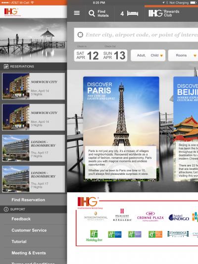 IHG hotel booking app