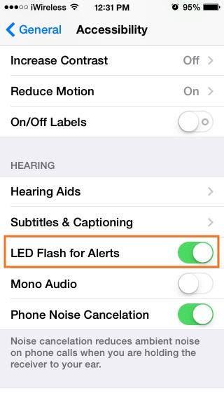 Turn on LED Flash Alerts