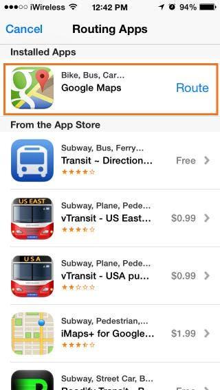 Google Maps via Siri