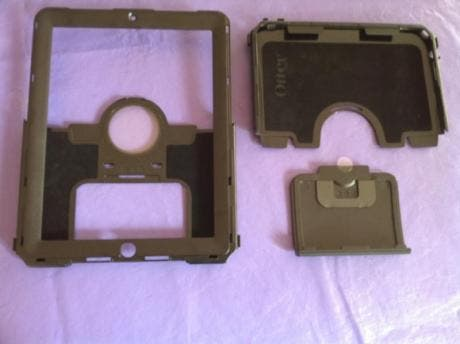 iPad Defender polycarbonate pieces, disassembled