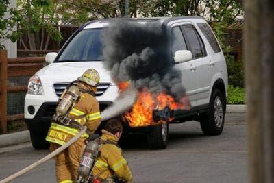 Fake fire damage via Dude, your car! app