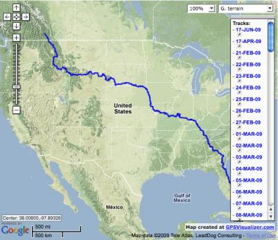 GPS Track of Scott Mullin's ride to Alaska