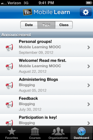 Blackboard Mobile Learn - Announcements Screen