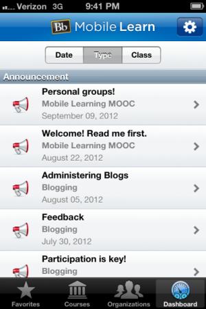 Blackboard Mobile Learn - Announcements Screen