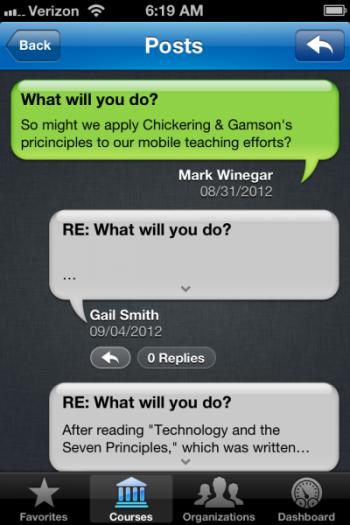 Blackboard Mobile Learn Discussion Forum