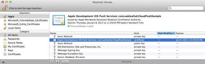 KeyChain new certificate