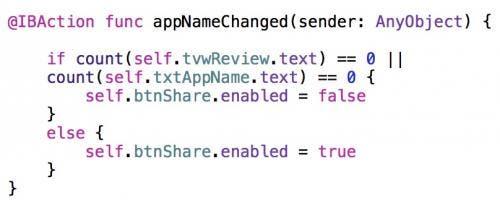 appNameChanged code
