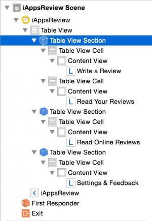 Select table view section