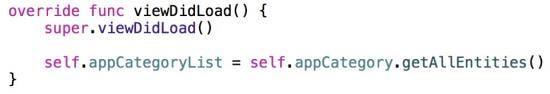 viewDidLoad code
