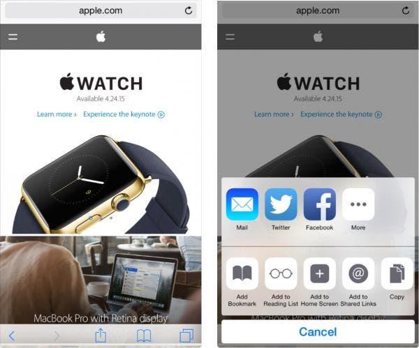 iOS Sharing panel