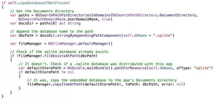 Copy database code
