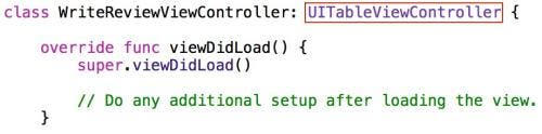 Base class UITableViewController