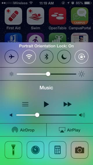 portrait orientation lock iphone