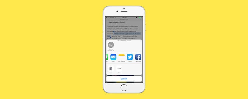 How to Share a Quote from Safari, Notes, iBooks, and More on Your iPhone