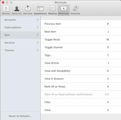 Reeder 3 OSX Keyboard Shortcuts