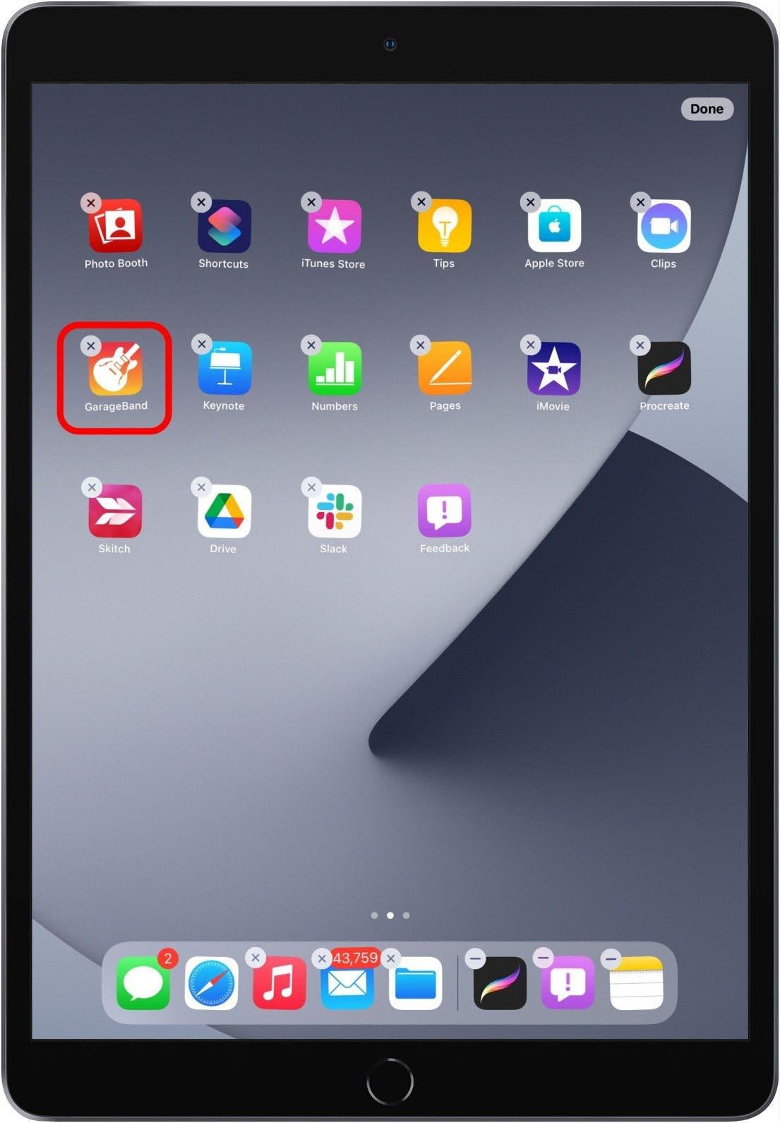 uninstall iPad app
