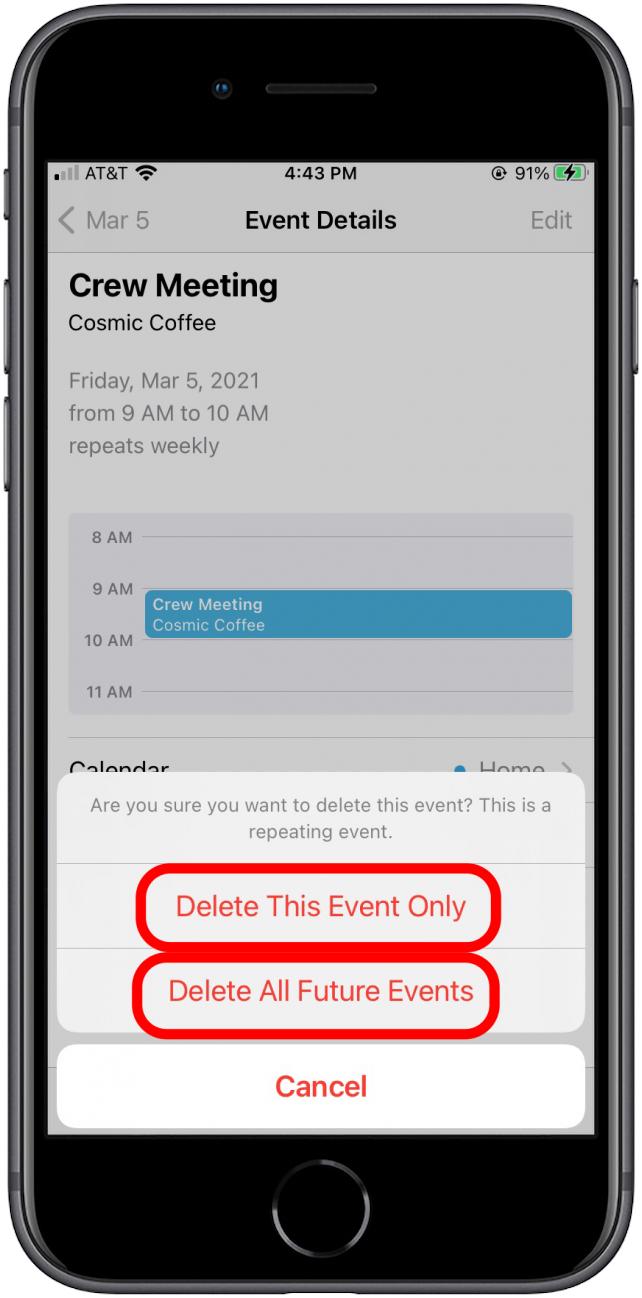 menghapus semua event di kalender iphone