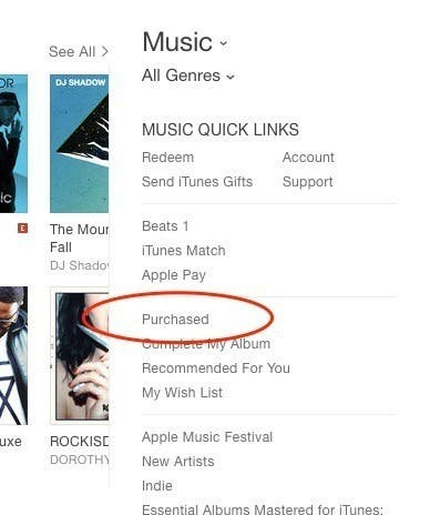 how to see hidden itunes purchases