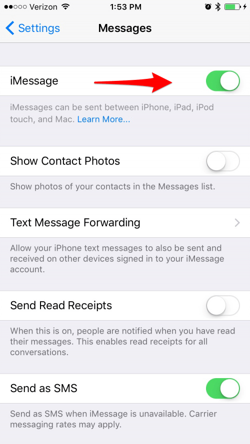 iphone cant turn imessage on