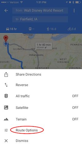 how to fix avoid toll tote on google map