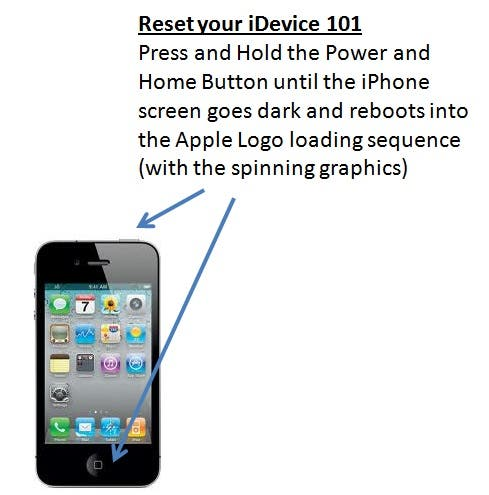 how to reset iphone with buttons how to reset or reboot your idevice iphone or ipod 4858