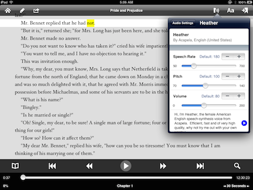 Setting voice playback parameters in Voice Dream Reader