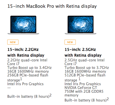 MacBook configurations