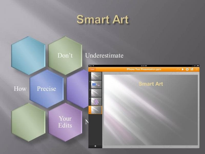 Slide 5: SmartArt - unmodified. Doesn't import at all