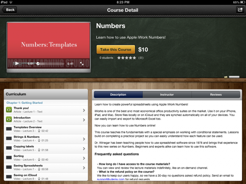Udemy course on Apple iWork Numbers