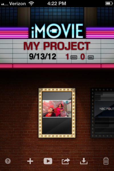 iMovie opening screen