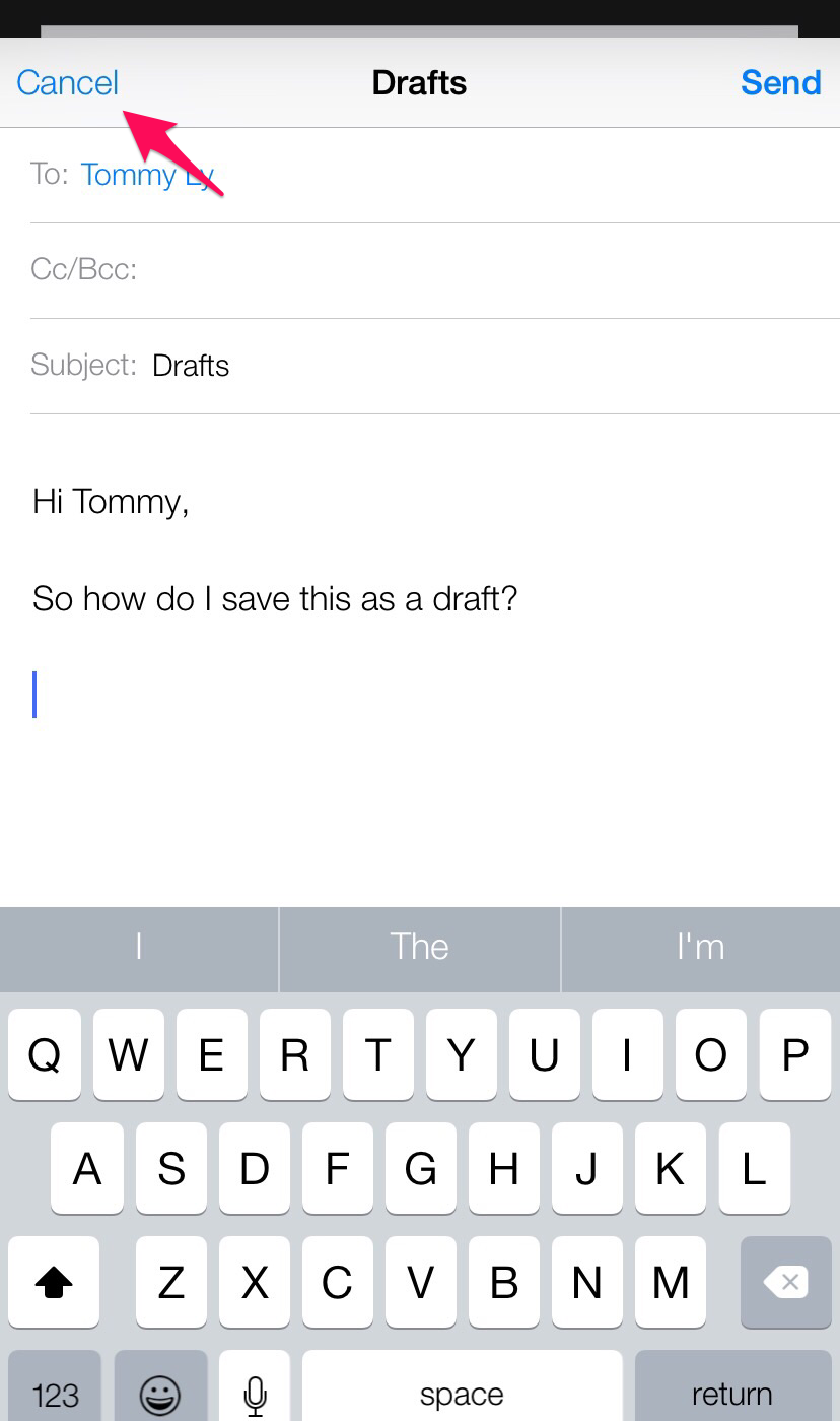 how do i save an email to drafts on my ipad