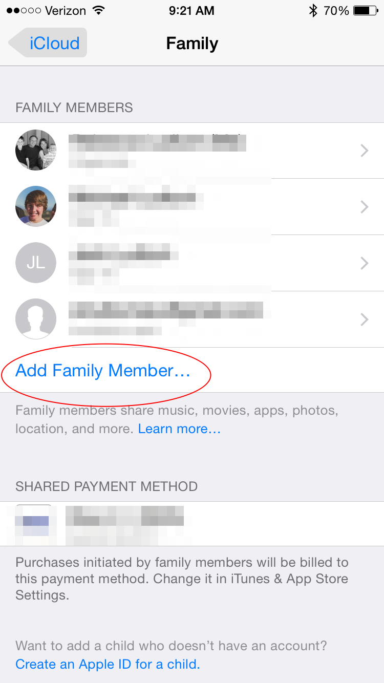 Add family member to Family Sharing