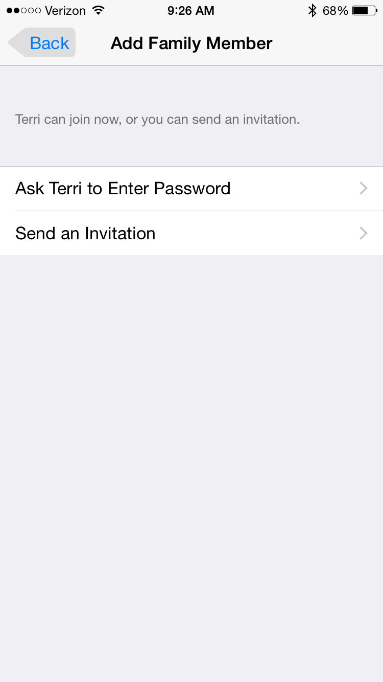 Tip of the day how to send and accept family sharing invitations family member is sitting right next to you as youll be prompted to enter their apple id password or if youd like to just send them an invitation stopboris Choice Image