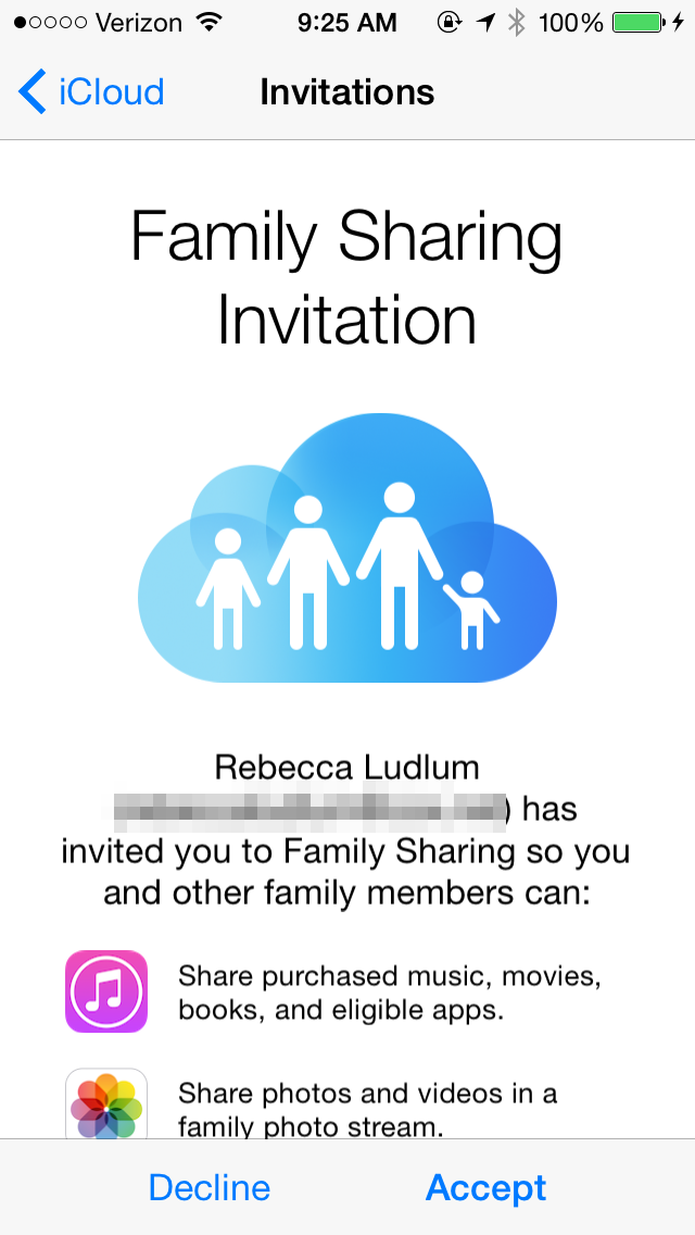 Family Sharing invitation